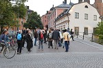 Group walk in town of Uppsala