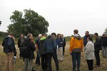 Field tour group on Elbe river beach