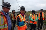 Participants at willow trial on mine waste